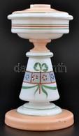 Fúvott és Kézzel Festett üveg Petróleum Lámpa Test. Cca 1900, M: 25 Cm - Verre & Cristal