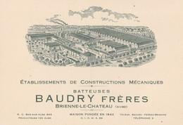 CARTE PUB DES BATTEUSES BAUDRY FRERES - BEAU PLAN DES BATIMENTS - 2 SCANNS -  TOP !!! - France