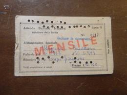 BIGLIETTO AZIENDA SICILIANA TRASPORTI AUTOLINEE SICILIA-ABBONAMENTO SPECIALE MENSILE-1977 - Abonnements Hebdomadaires & Mensuels
