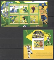 UC158 2010 UNION DES COMORES FOOTBALL BRASILIENS STARS RONALDO PELE 1KB+1BL MNH - Fussball
