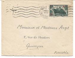 France YT 502 Paquebot Pasteur SSL Paris 08/10/41 Pour Quimper - Marcophilie (Lettres)