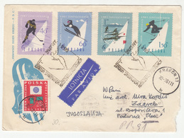 Poland Winter Sports Ice Hockey, Skiing Etc. FDC Posted Air Mail 1961 To Zagreb B200110 - Winter (Other)