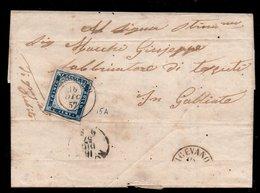 20 Cent. (15A) Su Lettera Ann. CASSOLNOVO (p.9) = € 1.550 - Sardaigne