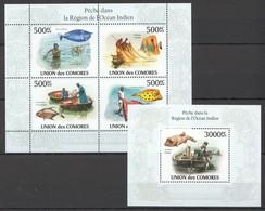 UC264 2010 UNION DES COMORES MARINE LIFE FISH PECHE DE L'OCEAN INDIEN 1KB+1BL MNH - Maritiem Leven