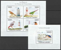 UC272 2010 UNION DES COMORES BIRDS PHARES LES OISEAUX DE L'OCEAN INDIEN 1KB+1BL MNH - Sonstige