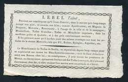 """Joli Billet Publicitaire XVIIIe - Ville De Meaux """"Lebel L'Aîné, Draperie, Mercerie, Blanchisserie De Senlis"""" - ... - 1799"""