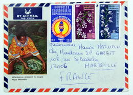 Enveloppe1976 Nouméa --> Marseille , Affr. 31f Orchidées YT 392 - 393, Festival Melanesia / Préparation De La Bougna - Nueva Caledonia
