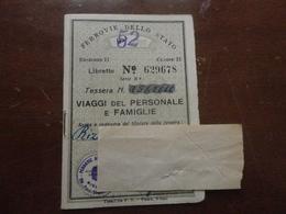TESSERA FERROVIE DELLO STATO 1952 - Abonnements Hebdomadaires & Mensuels