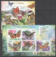 UC210 2011 UNION DES COMORES FAUNE FLORE MINERAUX PAPILLONS BUTTERFLIES 1KB+1BL MNH - Schmetterlinge