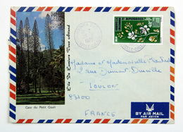 Enveloppe Nouméa Sud 1975 --> Toulon, Affr. 42f YT Pa 165 Orchidée Eriaxis Rigida / Case Du Petit Couli - Nueva Caledonia