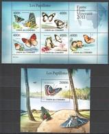 UC216 2011 UNION DES COMORES LES PAPILLONS BUTTERFLIES 1KB+1BL MNH - Butterflies
