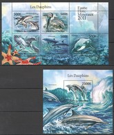 UC220 2011 UNION DES COMORES MARINE LIFE DOLPHINS LES DAUPHINS 1KB+1BL MNH - Dauphins