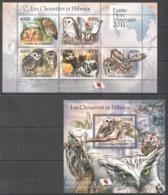 UC221 2011 UNION DES COMORES FAUNA BIRDS OWLS LES CHOUETTES ET HIBOUX 1KB+1BL MNH - Hiboux & Chouettes