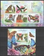UC224 2011 UNION DES COMORES LES PAPILLONS BUTTERFLIES 1KB+1BL MNH - Schmetterlinge