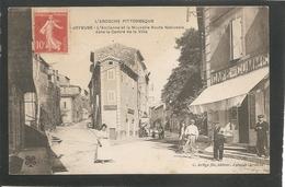 JOYEUSE - L' Ancienne Et La Nouvelle Route Nationaledans Le Centre De La Ville - Voyagée 1907 - Joyeuse