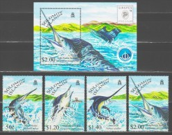 Solomon Islands 1997 Salomoninseln Mi 958-961 + Block 54 Swordfish And Billfish **/MNH - Baleines