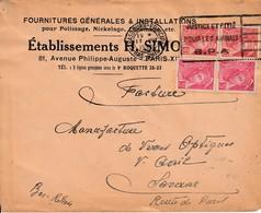 Env Affr Y&T 406 X 2 + 412 X 2 Obl OMEC STRASBOURG PRINCIPAL Du 17 VIII 1939 Adressée à Saverne - Alsace Lorraine
