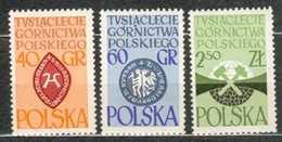 POLAND MNH ** 1132-1134 Millénaire De L'industrie Minière Mine Emblème De La Famille Kopasny Haute Silésis - 1944-.... República