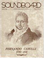 Revue Guitare Soundboard Guitar Fondation Of America N° 1 - 1984 Fernando Carulli - Arte