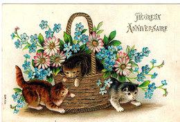3  Chats -cats - Poezen -katzen-relïef - Cats