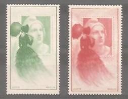 """1949. 2 Vignettes Officielles """" Femme à L'ombrelle """" - Bleu-vert Et Rouge Y&T N°19. Neuves. Expo. Phil.Inter. - Philatelic Fairs"""