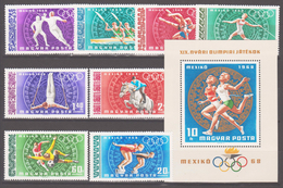 Hungary 1968 Ungarn Mi 2434-2441+Block65(2442) Summer Olympic Games, Mexico City / Olympische Sommerspiele, Mexiko-Stadt - Zomer 1968: Mexico-City