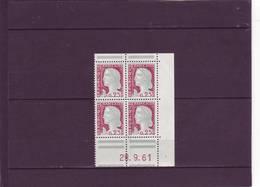 N° 1263 - 0,25 Marianne De  DECARIS - CD De Carnet De 20 - 28.09.1961 - Dated Corners