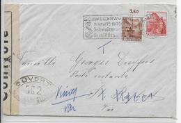 1941 - SUISSE - ENVELOPPE De BASEL Avec CENSURE FRANCAISE OC2 + TAXE => ST RAPHAËL POSTE RESTANTE (VAR) => VINON - Switzerland