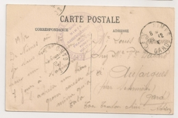 CACHET SERVICE MILITAIRE DES CHEMINS DE FER GARE NIMES FRANCHISE POSTALE MILITAIRE   B2106 - Guerre De 1914-18