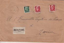 ITALIE : GUERRE . LETTRE REC A 4.25 LIRE . DE L'OCCUPATION ITALIENNE DE MENTON . 1942 - Occupation 2ème Guerre Mond. (Italie)