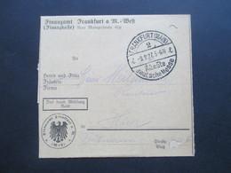 Deutsches Reich Frei Durch Ablösung Reich 1927 Finanzamt Frankfurt (Main) Stempel Älteste Deutsche Messe. Ortsbrief - Deutschland