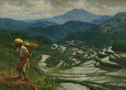 """Baguio Rice Terraces"" 12"" X 18"" Oil On Canvas 1944  By AMORSOLO, Fernando - Oils"