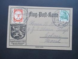 DR 1912 Flugpost Am Rhein Und Main Flugpostmarke II Auf Flugpost Karte Mit Germania Marke - Allemagne