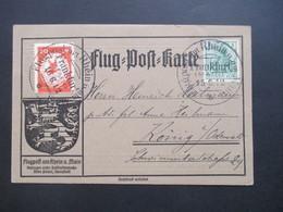 DR 1912 Flugpost Am Rhein Und Main Flugpostmarke II Auf Flugpost Karte Mit Plattenfehler PF VI 250€ Katalogwert! - Allemagne