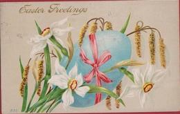 Jolie Carte Fantaisie Happy Easter Greetings Pasen Ostern Joyeuses Pâques Carte Fantaisie CPA Gaufree Embossed Relief - Pâques