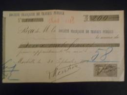 France  Fiscaux , Quittançe De 1901 , Soçiete Française De Travaux Publis - Fiscaux