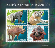 Togo 2019 Endangered Species Monkey Gorilla Lemur Rhino S/S TG190560a - Célébrités