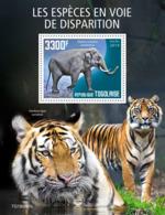 Togo 2019 Endangered Species Tiger Elephant S/S TG190560b - Célébrités