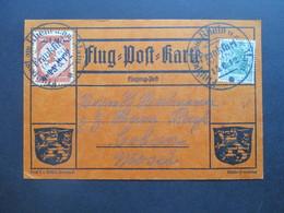 DR 1912 Flugpost Am Rhein Und Main Flugpostmarke I Aufdruck Gelber Hund Flugpostkarte Euler Flugmaschine - Allemagne