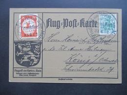 DR 23.6.1912 Flugpost Am Rhein Und Main Flugpostmarke II Aufdruck E.EL.P. Mit Germania Marke SST Flugpost KW 2200€ - Allemagne