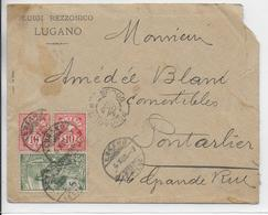 1900 - SUISSE - ENVELOPPE De LUGANO => PONTARLIER (DOUBS) - 1882-1906 Coat Of Arms, Standing Helvetia & UPU