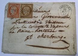 ROGLIANO 1853 (19 CORSE) + PC 2712 AFFR. RR ! YV. 1+5 Cérès 1850 10c + 40c Lettre > Cherbourg, S. Scheller (France Cover - 1849-1876: Période Classique