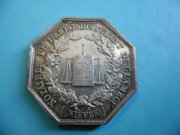 Superbe JETON MEDAILLE Notaire Arrondissement De CLAMECY Nièvre (58)  Poinçon Tranche Argent Abeille 1860 à 1879 - France