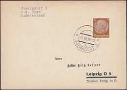 Germany - Sudetenland, Böhmen Und Mähren. Jägerndorf (Krnov, Oberschlesien) Czechoslovakia 21.1.1939 - Leipzig. - Germany