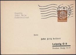 Germany - Sudetenland, Böhmen Und Mähren. Kopitz (über Brüx) Kopisty, Czechoslovakia 27.1.1939 - Leipzig. - Germany