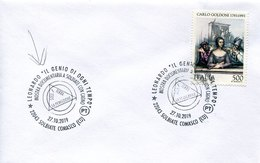 50569 Italia, Special Postmark 2019 Solbiate, Leonardo Da Vinci The Genius Of All Time,le Génie De Tous Les Temps - Altri