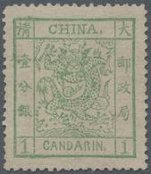 China: 1882, Large Dragon Large Margin 1 Ca. Light Green, Unused No Gum (Michel Cat. 650.-). - Chine