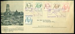 Nederland 1946 Speciale Envelop Rotterdamsche Philatelistenvereniging Complete Serie NVPH 454-459 Bijzondere Stempels - Lettres & Documents