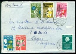 Nederland 1964 Luchtpost Brief Naar Nigeria Met Complete Serie Kinderzegels NVPH 830-834 - Lettres & Documents
