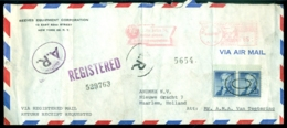 USA 1957 Registered Airmail Letter To Netherlands - Poste Aérienne